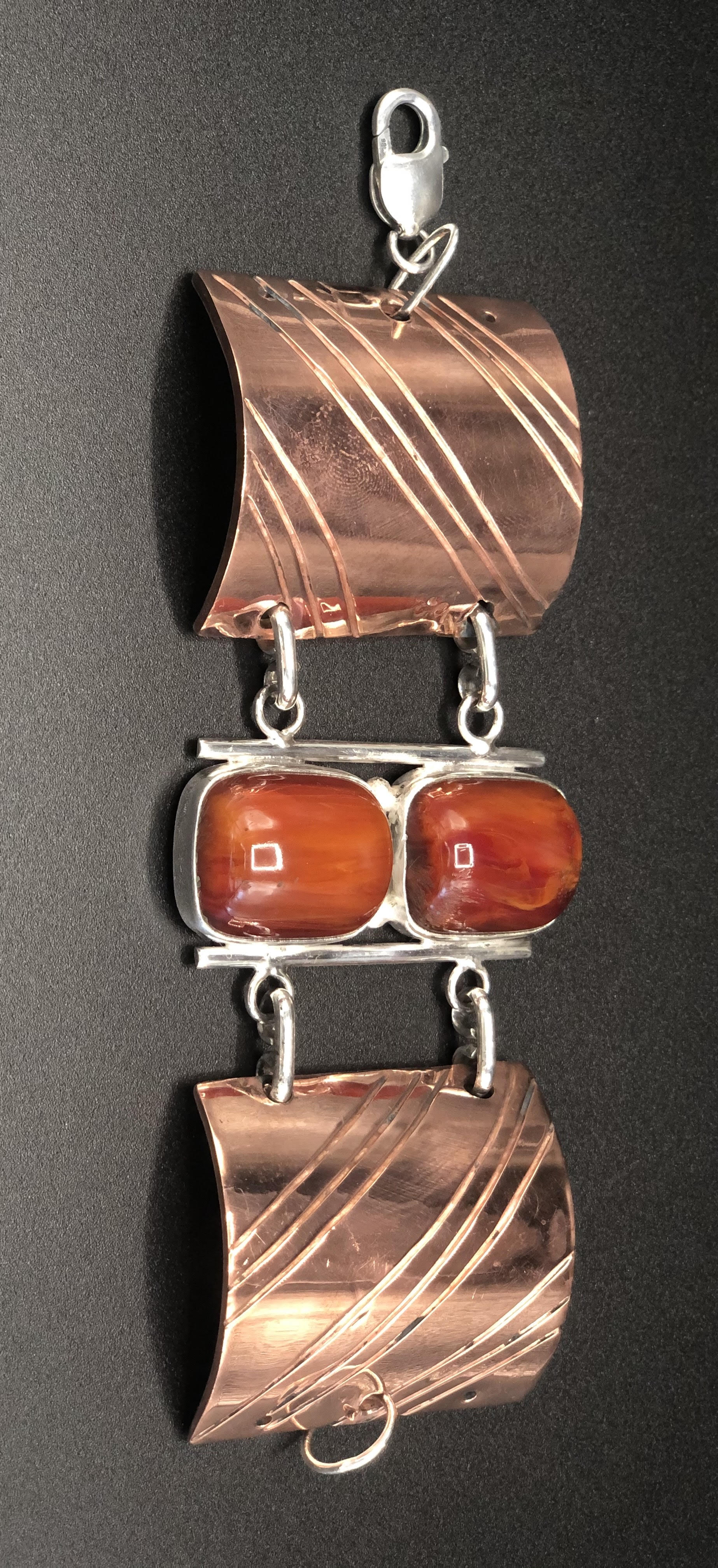 Cooper and Sterling Silver Cherry Amber Link-Cuff Bracelet