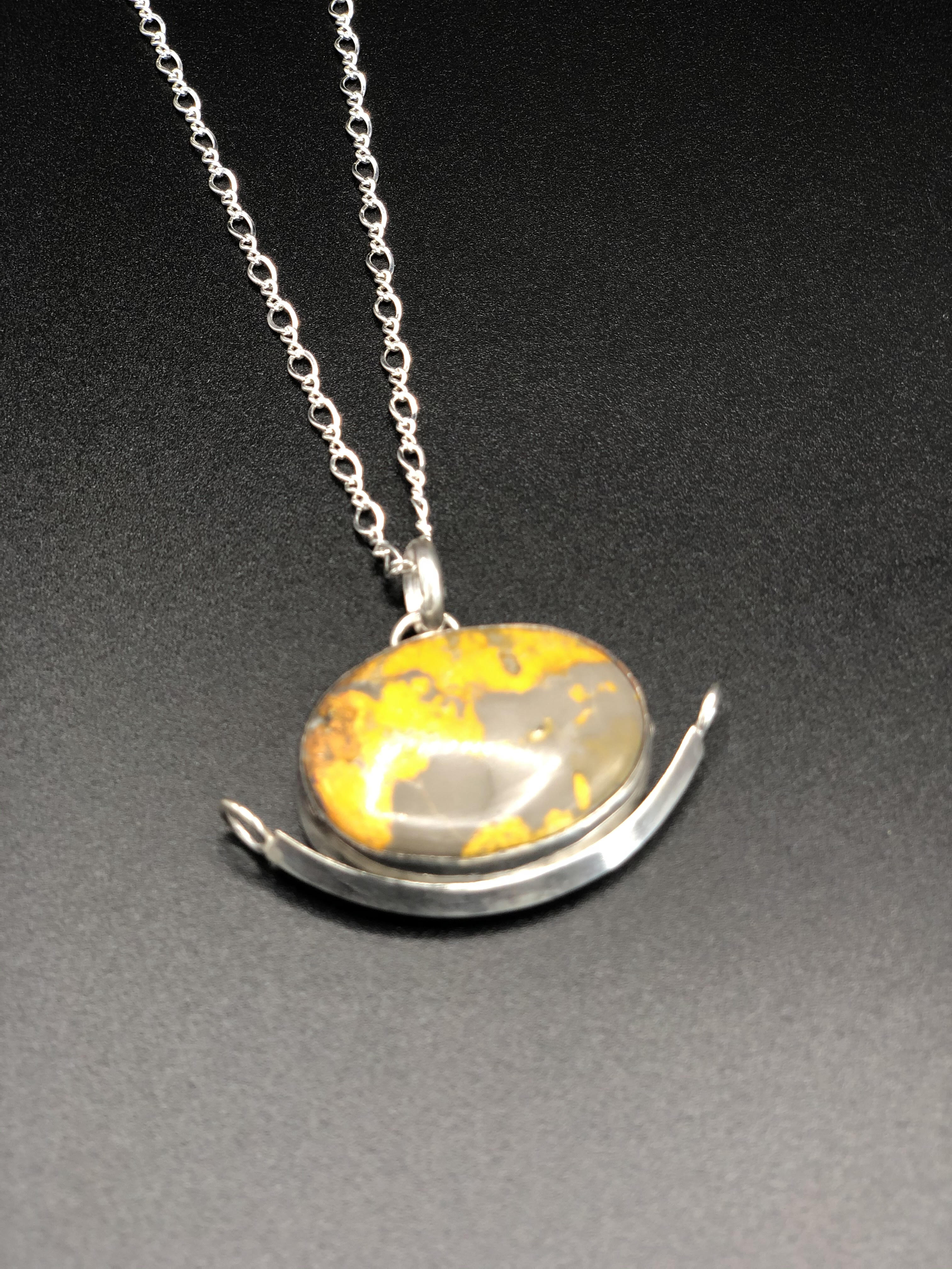 Sterling Silver Bumble Bee Jasper Pendant
