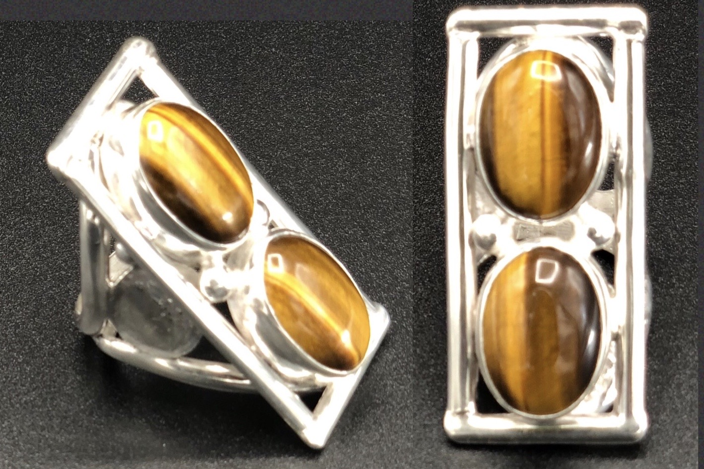 Sterling Silver Double-Stone Tigers Eye Ring