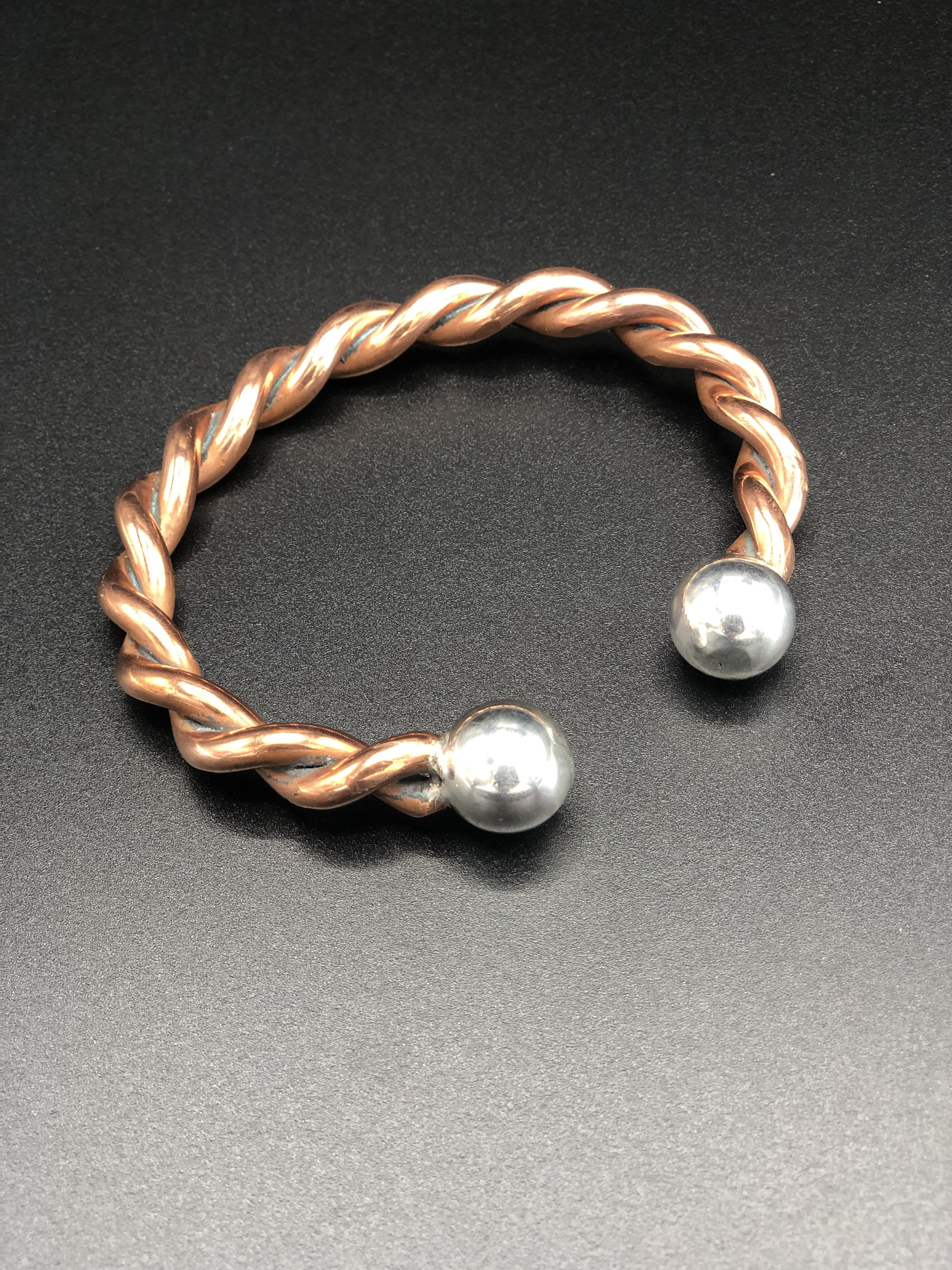 Twisted Cooper 4 gage Bangle Sterling Silver Balls