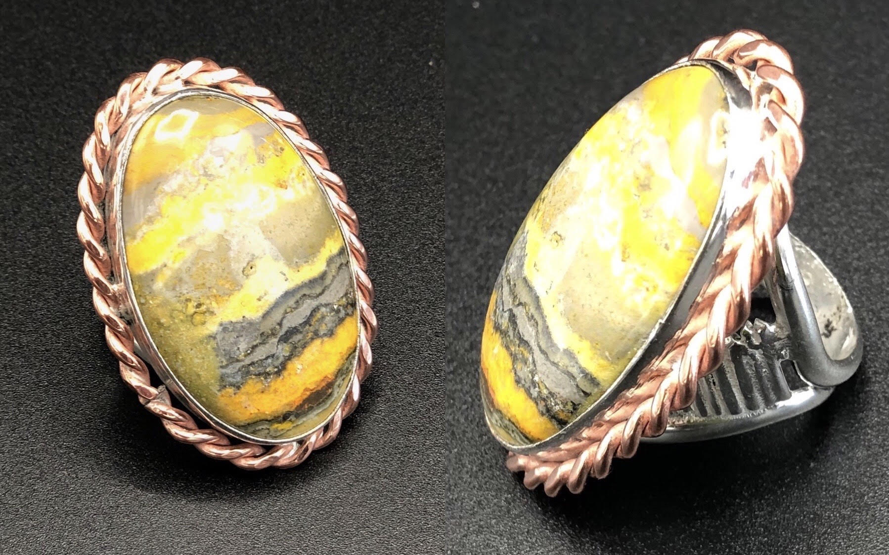 Twisted Cooper Bumble Bee Jasper Ring set in Sterling Silver